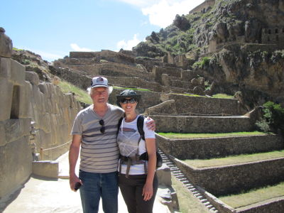 Shannon and her dad at Ollantaytambo ruins