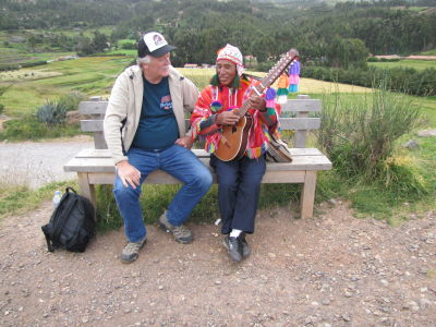 Bob enjoying a local musician's music