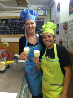 Shannon and Jen at their cooking class in Cusco, cheers!