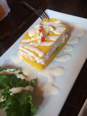 We ate so many different causa rellenas!