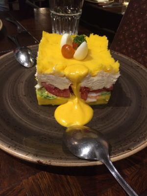 Causa rellena with chicken