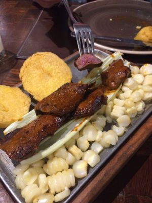 Anticuchos (beef heart skewers, very popular in Peru, and the'yre really good!)