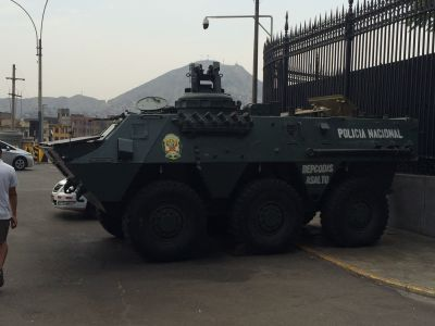 Police tank in downtown Lima