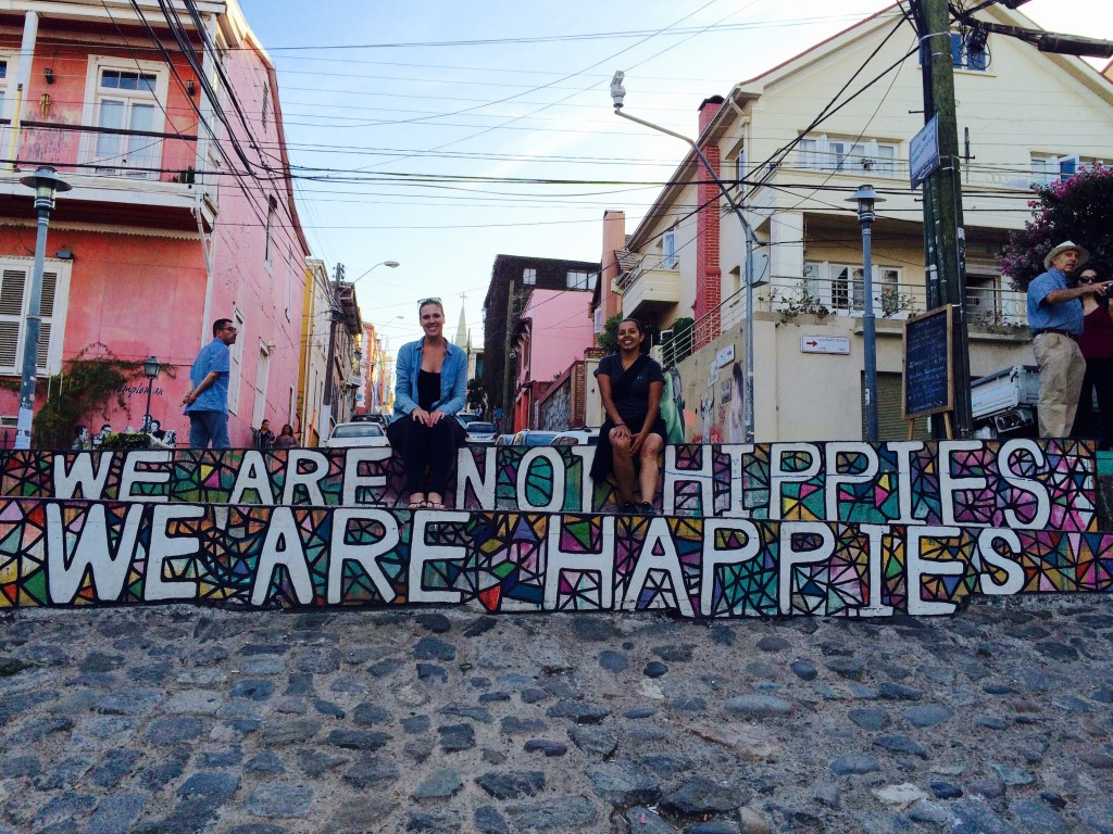 We are not hippies we are happies Valparaiso Chile