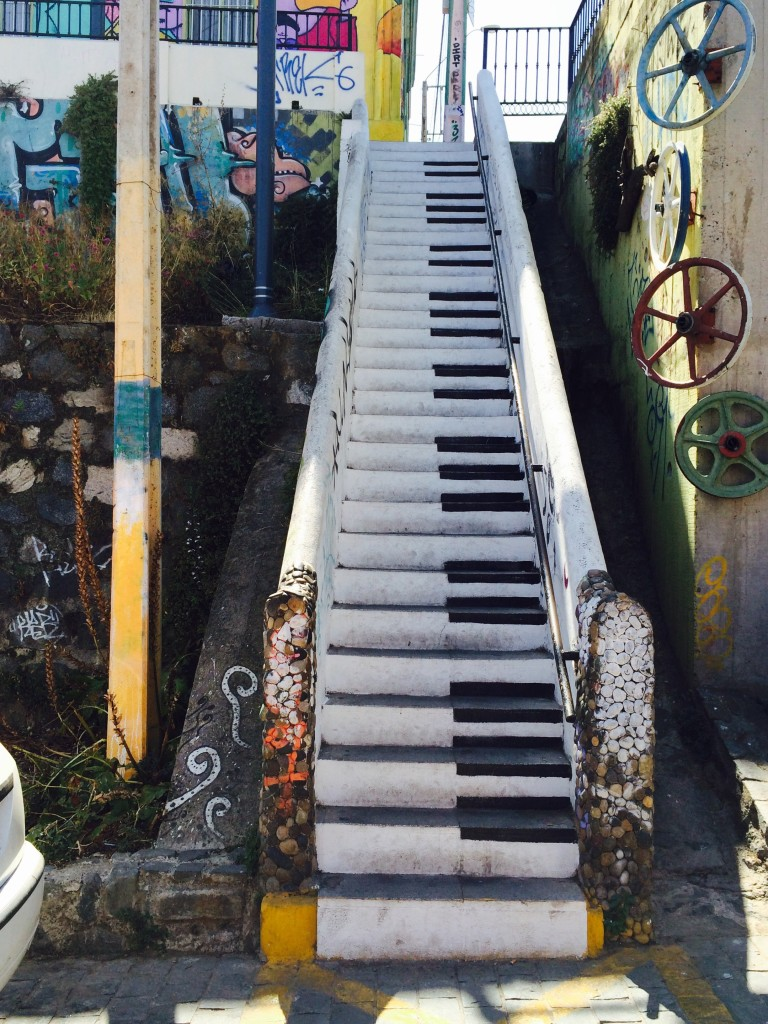 Piano staircase Valparaiso Chile