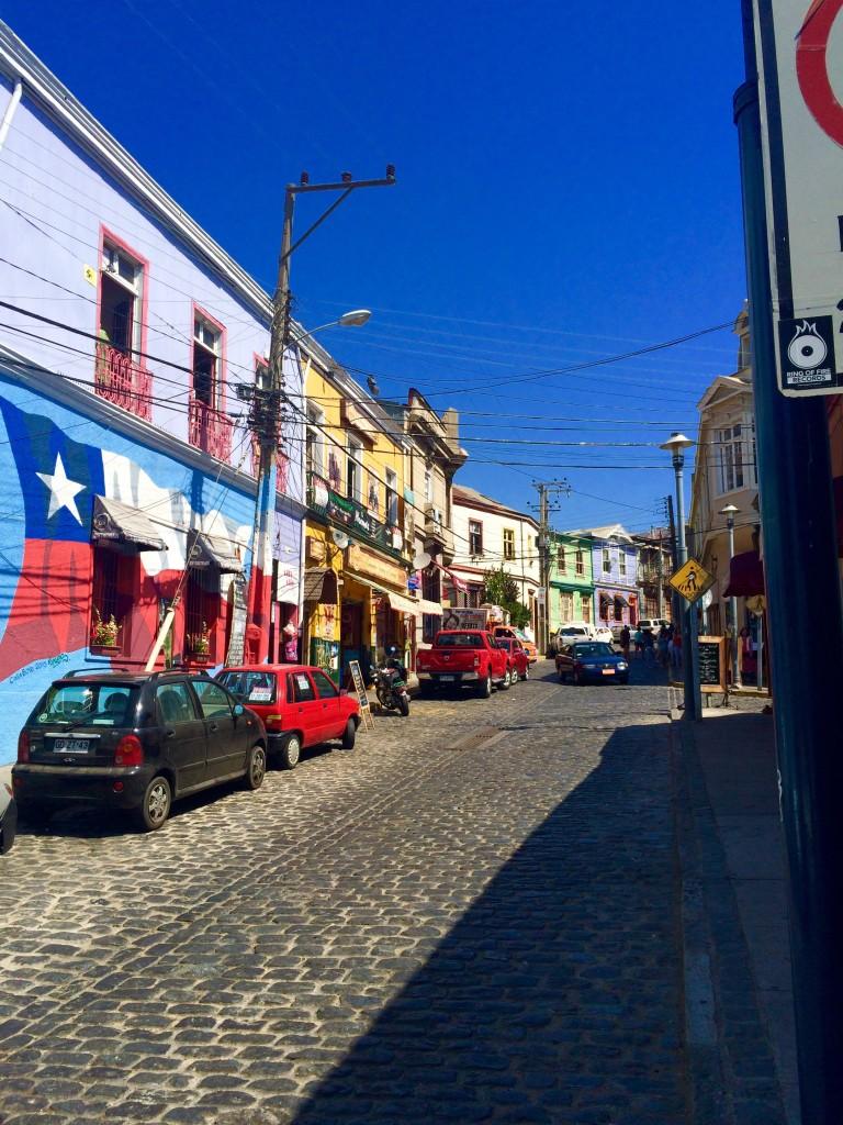 Chilean flag mural Valparaiso