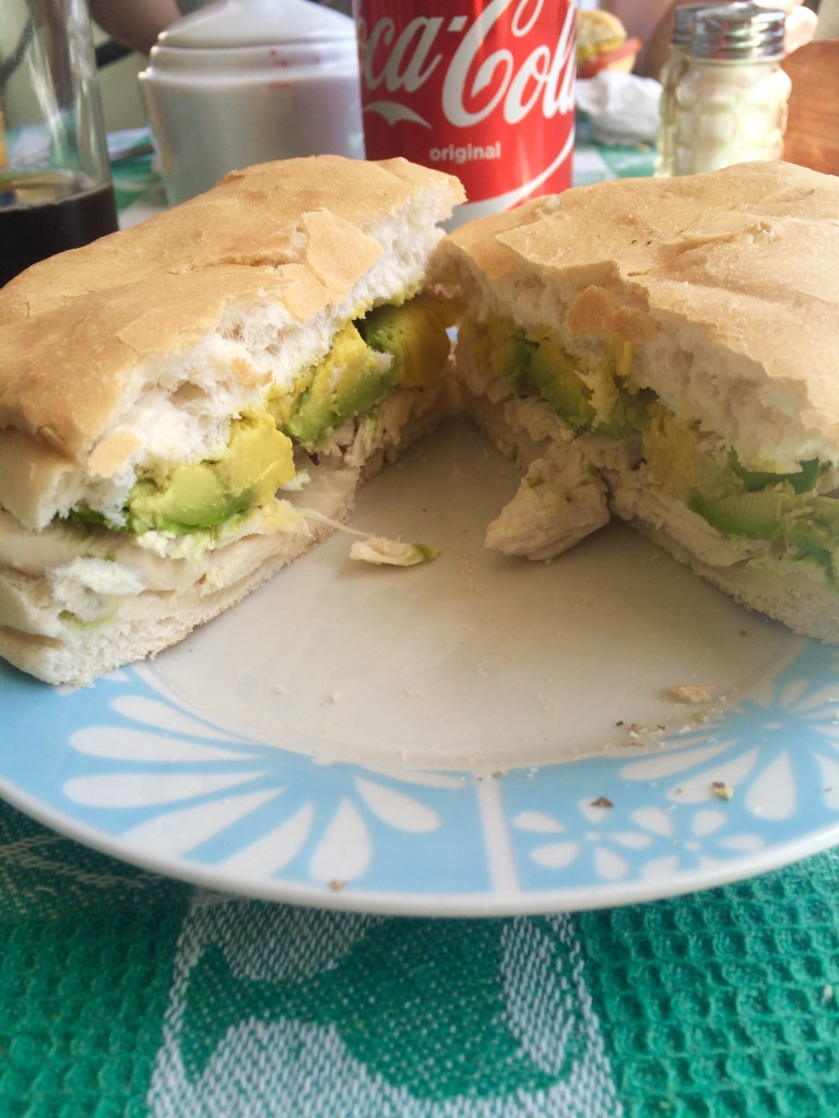 Chicken and avocado sandwich in Chile