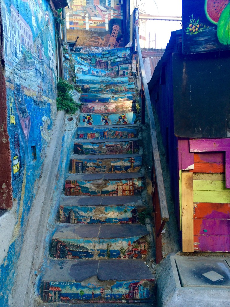 Valparaiso street art stairs graffiti