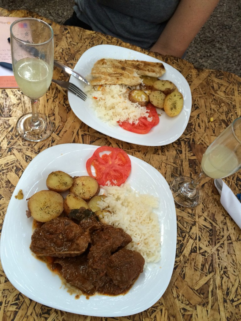 Basic meat and fish dishes served with rice and potatoes
